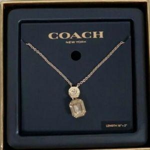 "Coach Emerald Cut Crystal Necklace 16""-18"""